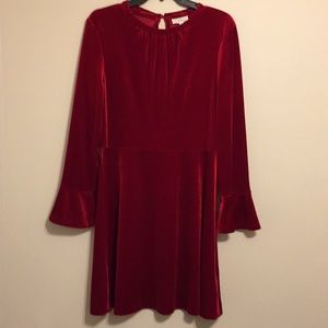 A loves A, medium size, red velour dress.